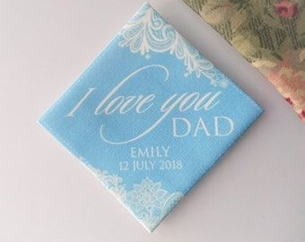 I love you Dad Personalised wedding tie patch, father of the bride gift, father of the groom gift, wedding tie patch, keepsake tie label