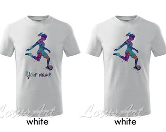 58f9a482dd1 Girl Soccer Player Watercolor Kids T-shirt Sports Kids T-shirt Children T- shirt Personalized Kids T-shirt Custom Girl T-shirt Gift T-shirt