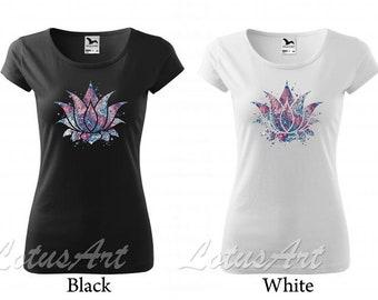 TS894 Women's T-shirt Buddha Lotus-Om mani padme hum-Spiritual Yoga space Zen