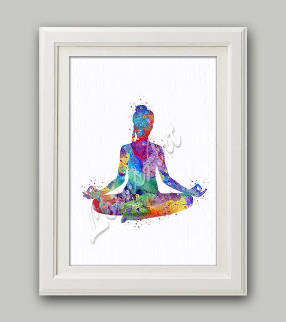 Yoga Sukhasana Pose Meditation Yoga Print Yoga Watercolor Print Yoga Gift
