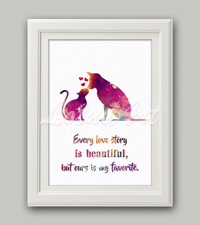 Cat and Dog Love Quote Watercolor Print Cat Wall Art Animal Nursery Art Dog  Cat Lovers Gift Dog Art Print Animal Lover Gift Wall Art Poster