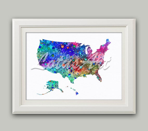 United States Map Wall Decor.Colorful United States Map Print Usa Map Wall Art Usa Etsy