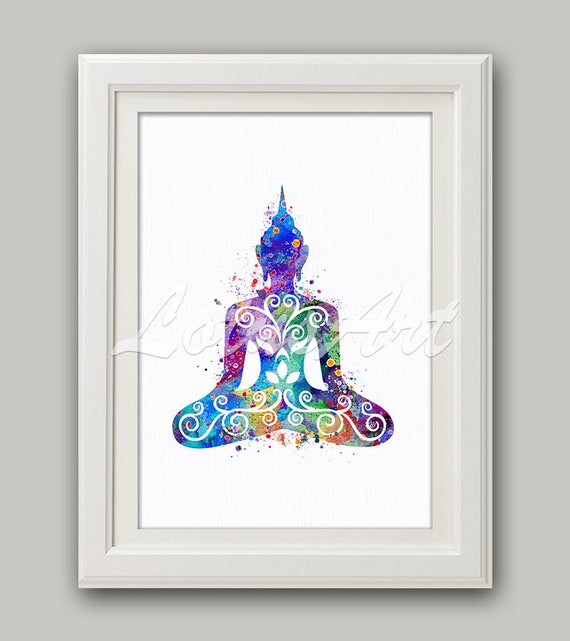 wonderful Zen Wall Art Part - 14: Buddha Watercolor Print Buddha Wall Art Zen Decor Yoga Art   Etsy