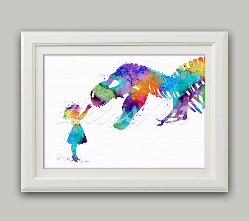 Girl and Dinosaur T-Rex Wall Art Dinosaur Wall Art Girl & image 0