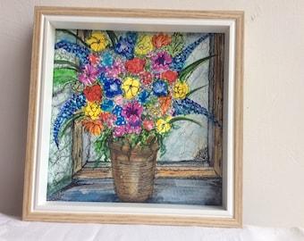 Flowers in old window