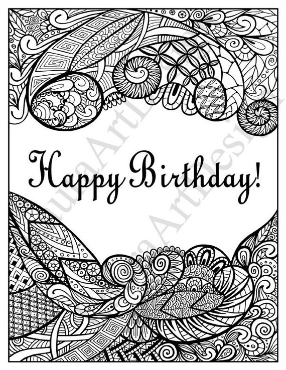 graphic about Zentangle Printable called Zentangle printable Pleased Birthday coloring website page, Do it yourself card for grown ups, zendoodle, prompt down load vector PDF, High definition electronic record