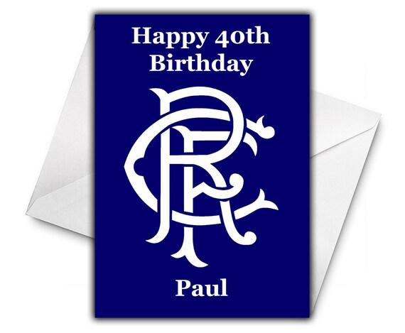 GLASGOW RANGERS FC Personalised Birthday Greetings Card