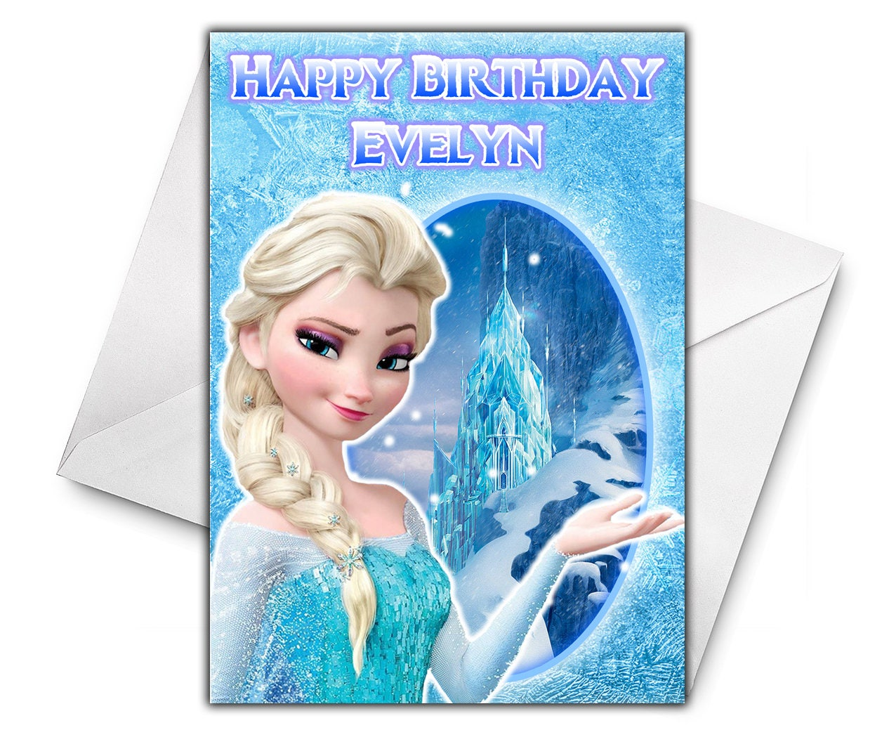 Elsa Frozen Personalised Birthday Greetings Card Large Size Etsy