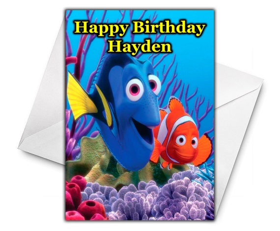 FINDING NEMO Personalised Birthday Greetings Card Large Size