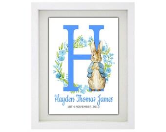 PETER RABBIT Alphabet Name Print - Fully Framed - Peter Rabbit Personalised Name Print - Peter Rabbit Initial Framed Artwork - Kids Bedroom