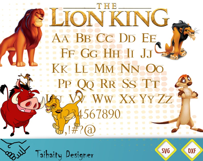 The Lion King Font Svg File The Lion King Alphabet Svg Dxf Printable Svg Cut File Vector Digital Print Instant Download