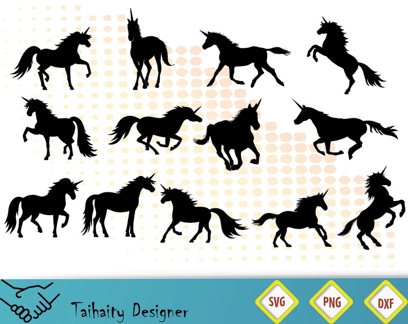 Unicorn Silhouettes svg file/ Unicorn svg, dxf, png/ Printable/ SVG cut  file/ Vector/ Digital/ Print/ Instant download