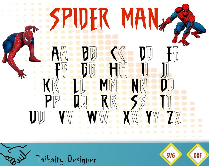 Spider man font svg file/ Spider man alphabet svg, dxf/ Printable/ SVG cut  file/ Vector/ Digital/ Print/ Instant download