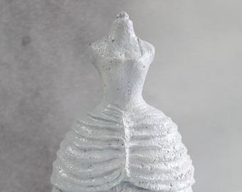 Bust dress crinoline white pressed paper sculpture