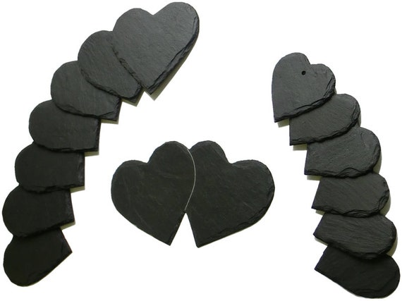Slate heart labeled or unlabelled of 4-40 cm