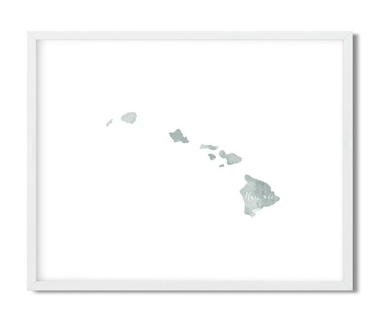 Hawaii Print, State Prints, Watercolor Hawaii Print, Hawaii Souvenir Print,  Digital Prints, Hawaii Home Decor, Hawaii Decor, Tropical Decor
