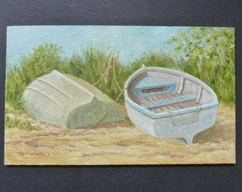Signed original oil painting of dinghies pulled up on shore. 'A Day Off'