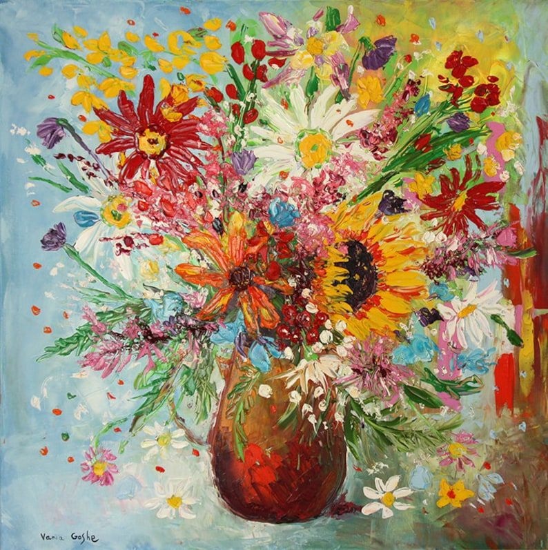Flower art abstract impressionism fine art impasto Peony painting painting original oil