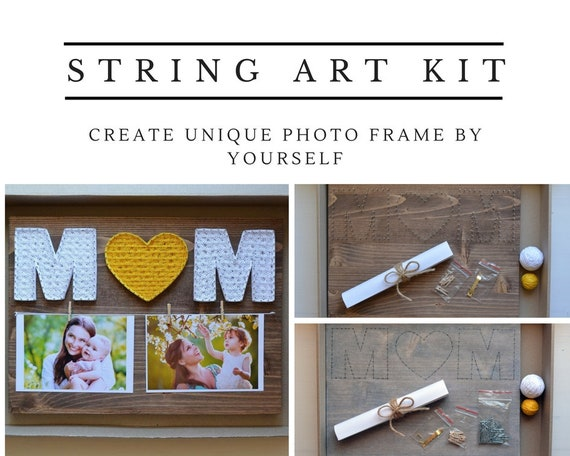 Diy string art kit photo frame mom from daughter mother photo etsy solutioingenieria Images
