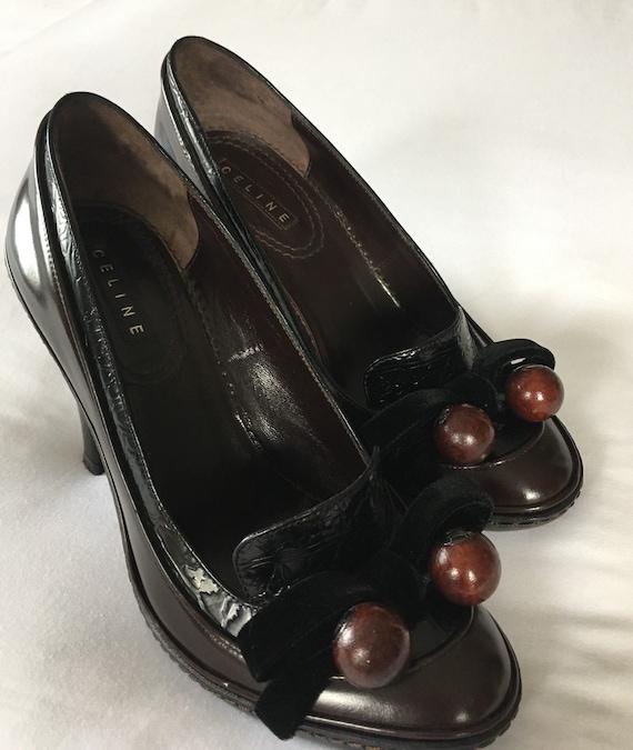 Rare Stunning Celine Brown leather moccasin pumps