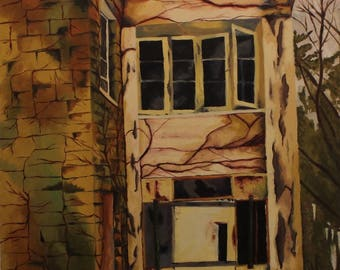 Original oil painting of abandoned building