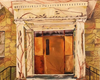 Original Oil painting of Front of an Abandoned Building