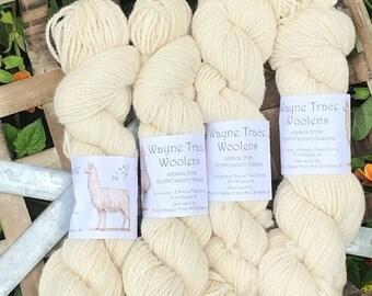 Indiana grown Cream Huacaya alpaca yarn