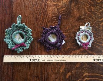 Set of 3 wool wreath ornaments