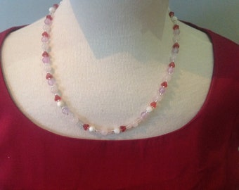 Handmade necklace, bracelet and earring set, pretty pink and lilac colours, semi-precious and Czech glass beads