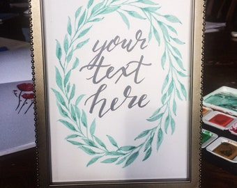 """Custom made to order leafy wreath watercolor 5"""" x 7"""""""
