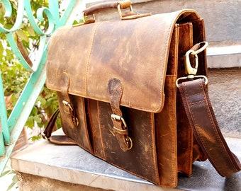 e2bf2b3f68 Personalized Genuine leather messenger bag laptop bag shoulder bag for  women gift for men office bag work briefcase Large Satchel rustic bag