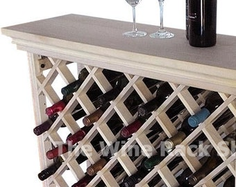 Lattice Wine Rack With Top And Baseboard - Storage for 48 Bottles