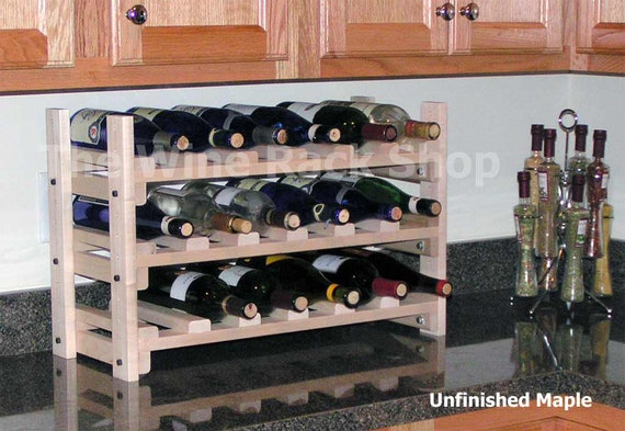 Wood Counter Top Wine Rack Storage For 18 Bottles An Ideal Etsy