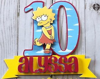 Outstanding Simpsons Cake Topper Etsy Personalised Birthday Cards Veneteletsinfo