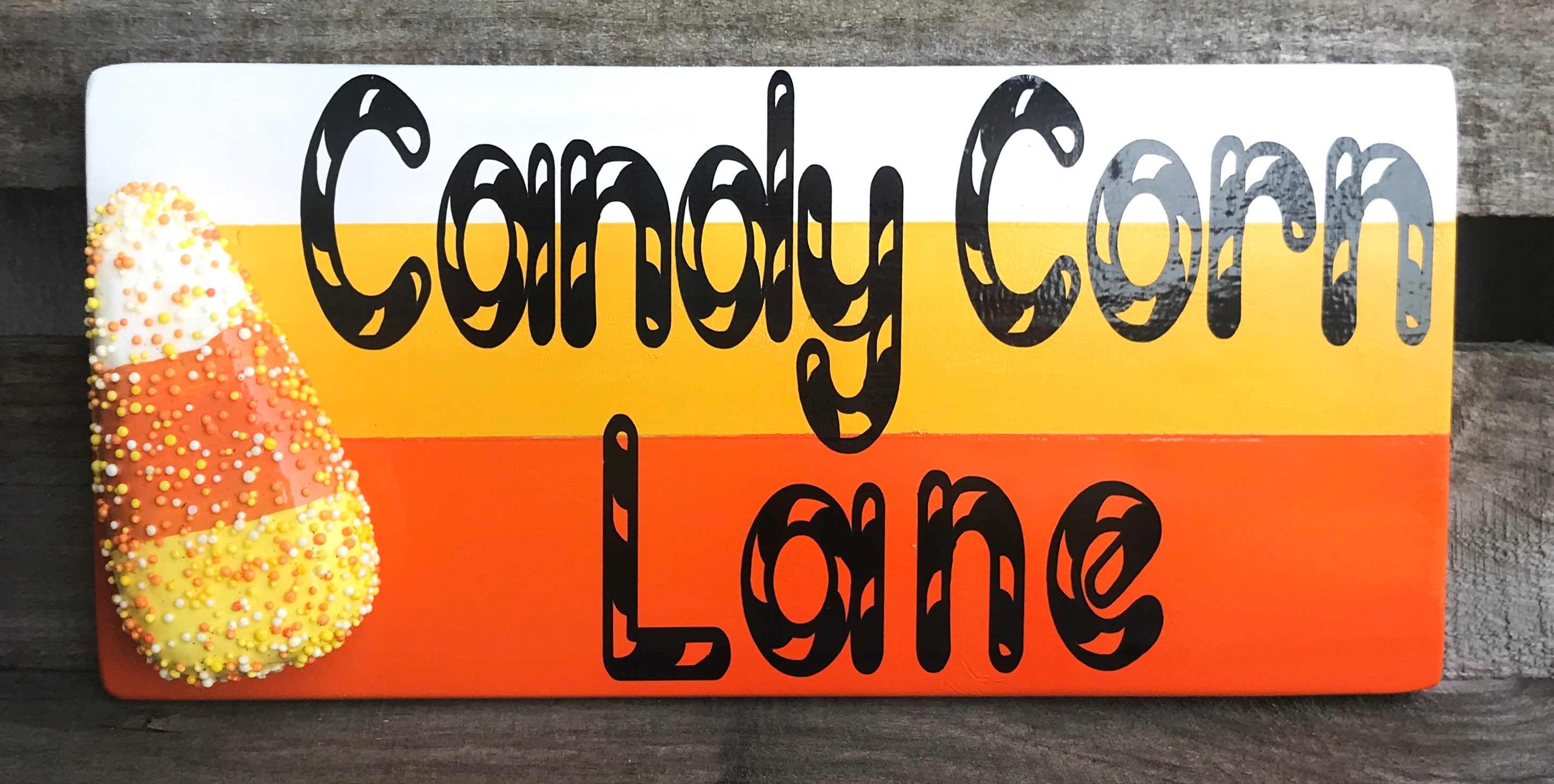 Candy Corn Lane wooden sign Wood Signs Custom Wood Sign   Etsy