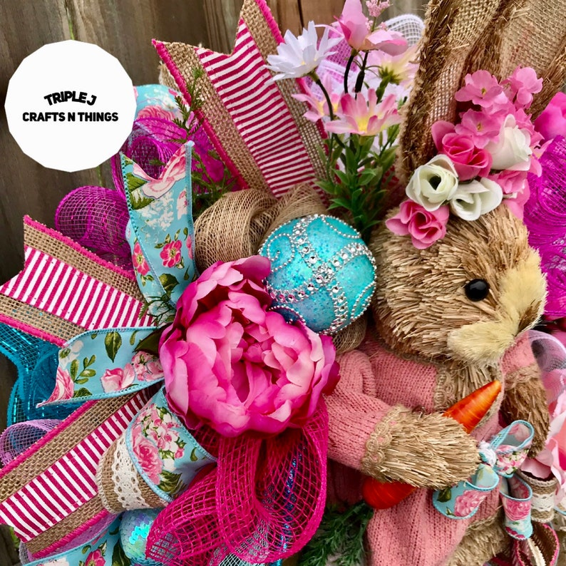 Floral Swag Shabby Chic Decor Bunny Wreath Spring Door Floral Decor Floral Wreath Bunny Swag Mother/'s Day Wreath Bunny Decor