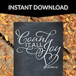 Count it all joy SVG cut file, DXF, eps, high-resolution PNG, scripture, personal, commercial use, James 1:2, perseverance, faith, trust