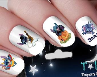 Christmas Lilo And Stitch Nail Art Wraps Transfers Nails Etsy
