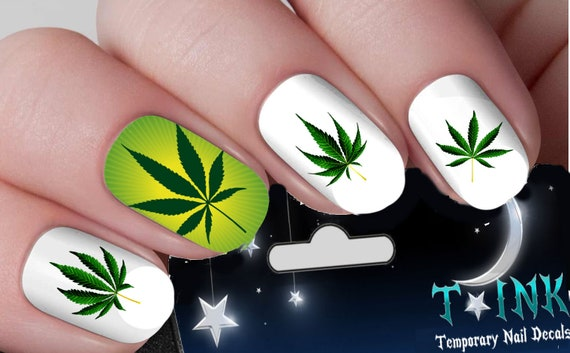 Green Pot Leaf Set Mixture Assortment 2 Nail Art Wraps Water Etsy
