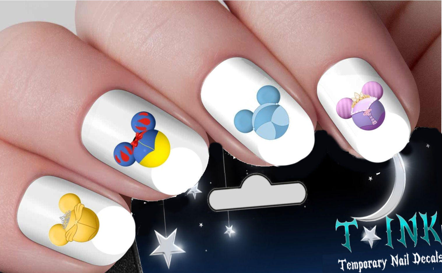 Disney Princess Heads Classic Nail Art Wrap Water Transfers Etsy