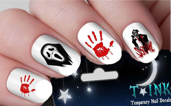 Halloween Scary Movie Scream Nail Art Wraps Water Transfers Etsy