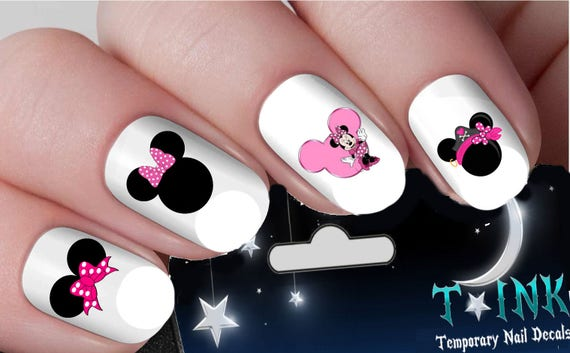 Disney Nail Decals Cute Pink Minnie Mouse Heads 1 Nail Art Etsy