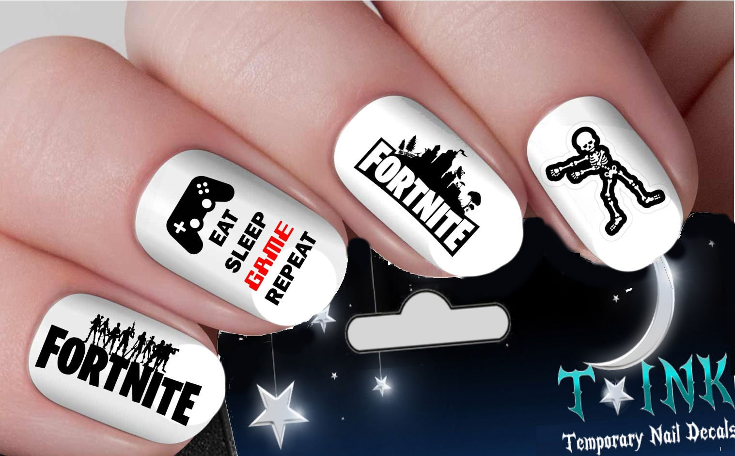 Gamer Fortnite Gaminy Nail Art Wraps Water Transfers Nails Decals ...