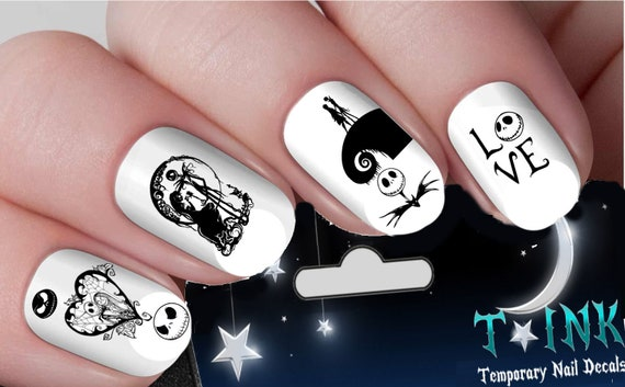 Jack Skellington Nightmare Before Christmas Burton Nail Art Etsy