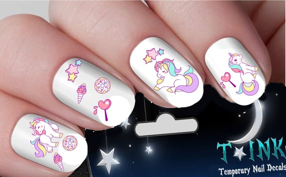 image 0 - Cute Unicorn Kawaii Mixture Assortment Nail Art Wraps Water Etsy