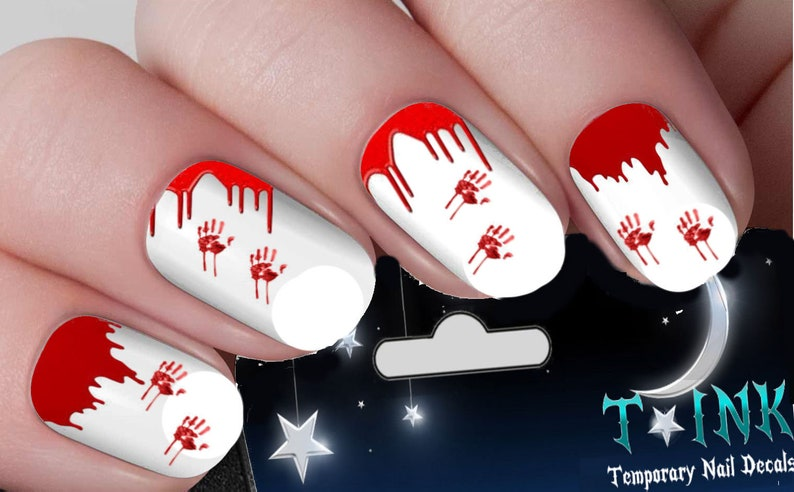 0b59502219 Halloween Nail Decals Blood   Bloody Handprints Nail Art Wraps