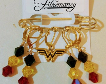 Wonder Woman Stitch Markers/Shawl Pin - Modern - Knit and Crochet