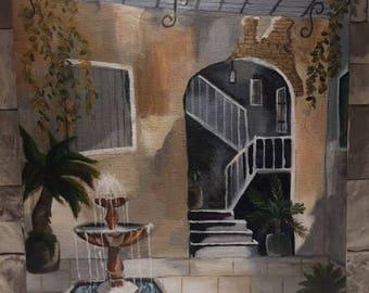 Acrylic court yard 16x20 painting