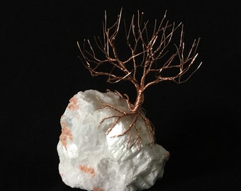 Wired Bonsai Leafless Copper Wire Tree on Rock