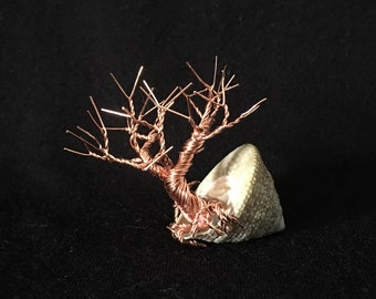Wired Bonsai Leafless Copper Wire Tree In Seashell